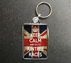 KEEP CALM AND GO TO AINTREE RACES KEYRING BAG TAG HORSE RACING GIFT 3 COLOURS