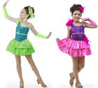 Dancing Dolls Ballet Tap Dress Flo Green & Hot Pink Dance Costume Child/Adult US