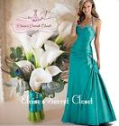 CHELSEA Turquoise Teal Taffeta Beaded Bridesmaid Ballgown Prom Dress UK 6 -18