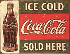 New Coke Vintage Sold Here Metal Tin Sign