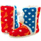 Authentic WONDER WOMAN Stars and Logo Boot Slippers Slip On Shoes S M L  NEW