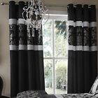 Catherine Lansfield Glamour Jacquard Black Silver Floral Eyelet Pair of Curtains