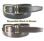 "MEN'S LEATHER REVERSIBLE DRESS BLACK/BROWN BELT SIZES: 32""- 54"" & BIG AND TALL"