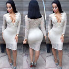 Women Sexy Long Sleeve Lace Bandage Bodycon Evening Party Cocktail Dress