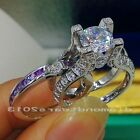 Sz5-11 Hot sale 10kt white gold filled Amethyst Diamonque Engagement Ring gift