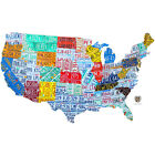 United States License Plate Map Wall Decal Garage Removable Decor