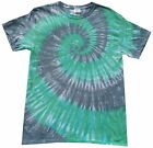 Tie dye T Shirt Green and Grey  spiral , all sizes, Hand dyed in the UK