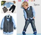 3PCS Baby Boys Gentleman Waistcoat  + Shirt  + Jeans Set Kids Clothes Outfits