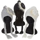 Ladies Girls Womens Crystal Flower Knitted Hat With Plaits
