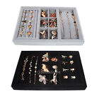 Large Compartment Jewelry Necklace Ring Watch Wood Velvet Display Case Box Tray