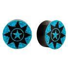 PAIR | Carved Horn & Crushed Turquoise Organic Plugs Ear Tunnels