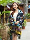Women Bohemian Hooded Cape Geometric Pattern Fringe Shawl Scarf