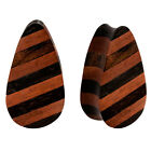 PAIR ORGANIC Areng & Sawo Wood Striped Double Flared Unique Oblong Plugs Flesh