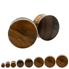 Pair Organic Reversible Dark Sono Light Yellow Wood Plugs Double Saddle Flare