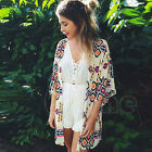 Sexy Women Geometry Loose Shawl Kimono Cardigan Boho Chiffon Jacket Coat Blouse