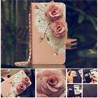 Hot Luxury Rose Flower Card Leather Strap Wallet Flip Case Cover for Cell Phones