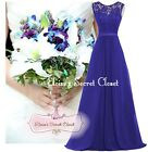 BNWT GRACE Sapphire Blue Lace Chiffon Maxi Bridesmaid Ballgown Dress Sizes 6 -18