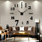 Modern DIY Large Wall Clock 3D Mirror Surface Sticker Decor Big New Black/Silver