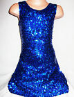 GIRLS 60s STYLE ROYAL BLUE SPARKLY HOLOGRAPHIC SEQUIN EVENING DANCE PARTY DRESS