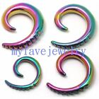 PAIR Rainbow Steel Ear Spirals Piercing Taper Stretcher Expander 10g 8g 4g 2g