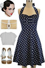 PLUS SIZE 50s Style DKNAVYBLUE w/White POLKA DOTS Pinup Betty HALTERTOP SunDress