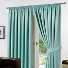 Dreamscene Thermal Pencil Pleat PAIR of Blackout Curtains & Tiebacks Ready Made