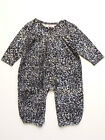Baby Girls Romper Gray and Blue Leopard  Cotton by Kit+Lili Sizes 6M, 12M NWT