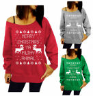 BD Women One Shoulder Sweater Long Sleeve Loose Tops T-shirt Christmas Style