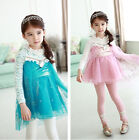 Xmas Kids Baby Girls Frozen Elsa Anna Cosply Lace Tops Dress Clothes for  2-9 Y