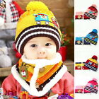 BD 1Set New Baby Winter Warm Car Pattern Hats Kids Wraps Knitted Scarf Christmas