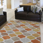 Contemporary Beige-Orange Carpet Curls Diamonds Curves Waves Geometric Area Rug