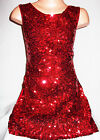 GIRLS 60s STYLE RED SPARKLING GLITZY HOLOGRAPHIC SEQUIN DISCO DANCE PARTY DRESS