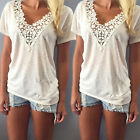 Womens Summer Casual Short Sleeve Shirt Tops Blouse  Lace Floral Cotton  Tops