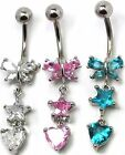 316L Stainless Steel Crystal Butterfly Star Heart Navel Belly Ring BJ10