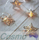 10-LED Battery XMAS Christmas Wedding Metal Star String Lamp Fairy Light White