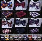 Check Polka Dot Floral Men Woven Silk Wedding Self Bow Tie handkerchief Set #G5