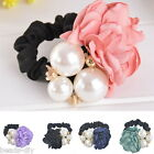 BD   1PC Women Girls Multicolor Pearls Fabric Camellia Hair Rope Ornaments