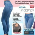 Genie Slim Jeggings Set of 2 (Blue & Black) Plush Lined JUNIOR Sizes Small to 3X