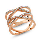 "1.20 Ct Round White Zirconia 18K Rose Gold Plated Silver Double ""X"" Ring"
