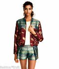 H&M Trend Jacquard-Weave Bomber Jacket  Metallic Gold Patterned New UK8 EU34 US4