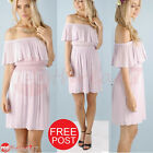 Summer Dress Off The Shoulder Sexy Womens Party Beach Lavender Tiered Boutique