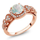 0.62 Ct Round Cabochon White Opal 18K Rose Gold Plated Silver Ring