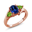 2.12 Ct Oval Blue Simulated Sapphire Green Peridot 14K Rose Gold Ring