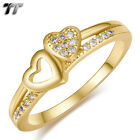 TT 14K Gold GP Double Heart Band Ring (RF119) Size 6-10 NEW