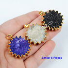 5Pcs Round Gear Sunflower Rainbow Agate Druzy Pendant Gold Plated HOT NEW BG0676