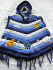 New Made In Peru Arpillera Poncho with Hood Size T4 Blue Stripes P7050007