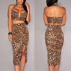 D11 - Plus Size Leopard Plunging V Neck Midi Skirt Two Piece Set Animal Print