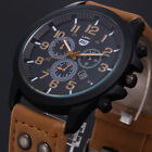 Military Leather Waterproof Date Quartz Analog Army Men's Quartz Wrist Watch New image