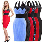 Women 50s 60 Retro Vintage Swing Pinup Housewife Evening Pencil Dress