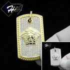 925 STERLING SILVER ICED OUT BLING MEDUSA HEAD GOLD/SILVER DOG TAG PENDANT*SP113